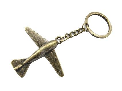 Antiguo bronce joyería de avión, avión llavero, llavero ...