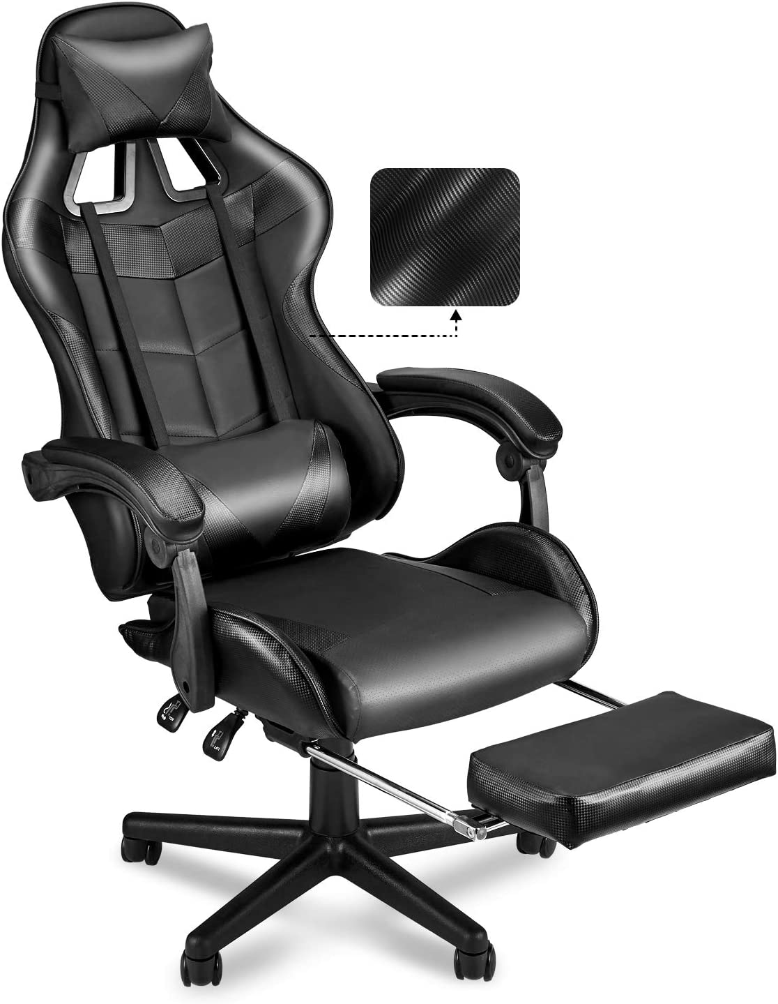 SOONTRANS PC Gaming Chair,Racing Chair for Gaming,Computer Chair,E-Sports Chair,Ergonomic Office Chair with Retractable Footrest and Adjustable Headrest and Lumbar Support-Dark Black