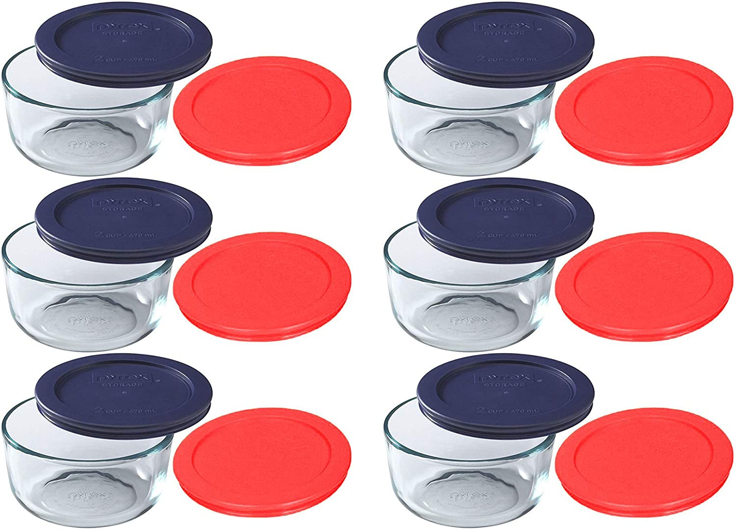 Pyrex Storage 2 Cup Round Dish, Clear with Red & Blue Lids, Pack of 6 Containers & 12 Lids