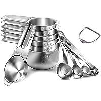 Qisebin - Juego de tazas medidoras y cucharas de acero inoxidable 304(18/8) de alta resistencia, 5 cucharas medidoras…