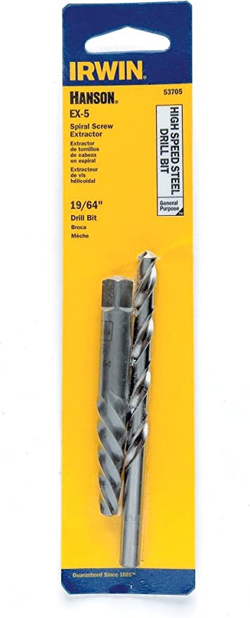 IRWIN HANSON EX-5 Spiral Extractor and 19//64 Drill Bit Set 53705