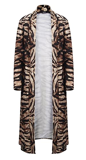 Janisramone Womens Ladies New Printed Long Duster Crepe Coat Jacket Open Front Long Sleeve Cardigan Cape Top