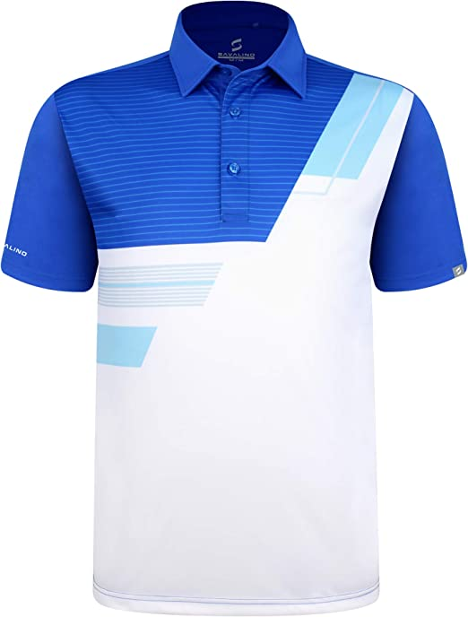 SAVALINO Mens Bowling Polo Shirts Material Wicks Sweat /& Dries Fast