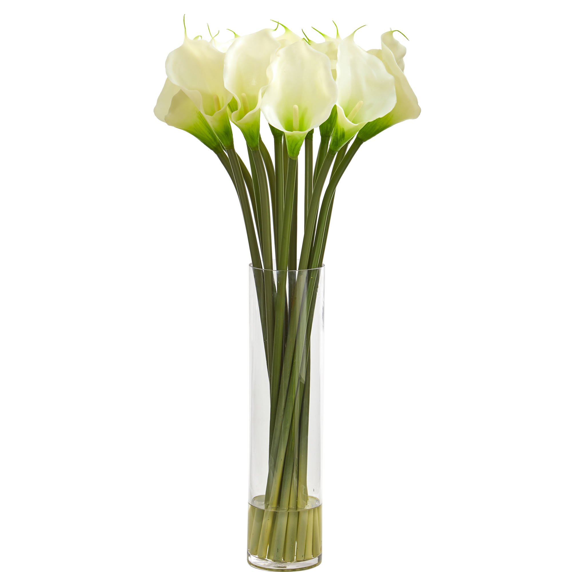 Nearly Natural 1588-WH 28'' Calla Lilly Arrangement Artificial Plant White by Nearly Natural