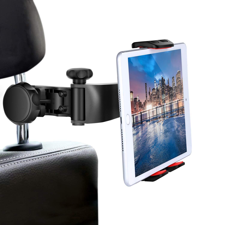Car Headrest Tablets Mount iPad Holder - FITFORT Flexible Back Seat Bracket Compatible iPad Mini 2 3 4,iPad Pro, iPad Air,Galaxy Tab,Kindle Fire HD,iPhone X 8 7 Plus,Smartphones 4''-10.1'' by FITFORT