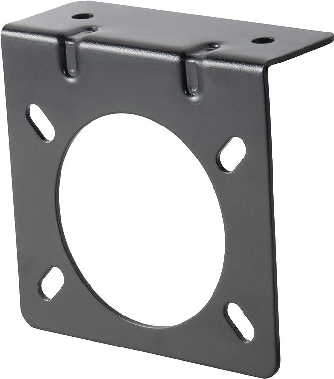 Connector Socket Mounting Bracket Acouto Black Metal Mounting Bracket Holder for 7 Pin Caravan Towing Trailer Connector Plug Socket