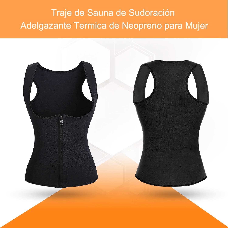 Roseate Faja Reductora Mujer Camisetas Sauna Chaleco Neopreno de Sudoraci/ón para Deporte Quema Grasa Cierre de Gancho