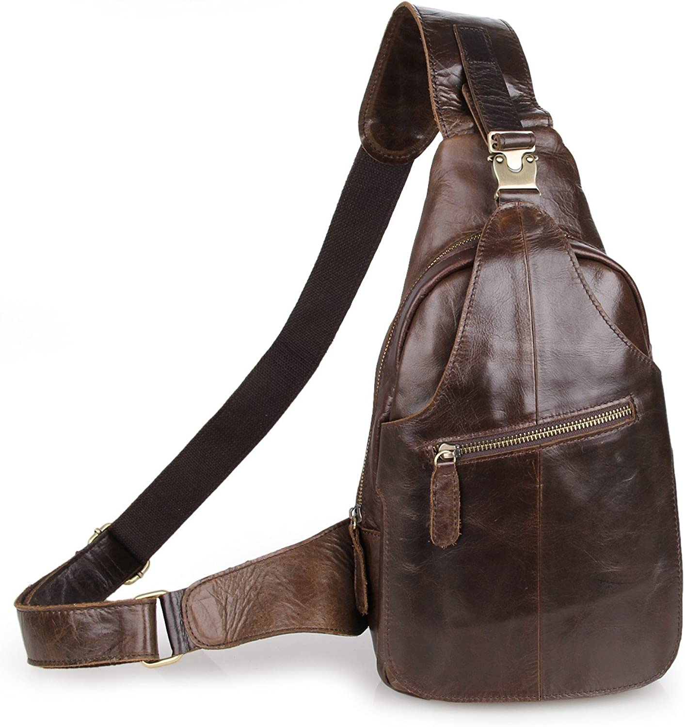 Yilen Casual Daypack Top Grain Cow Leather Sling Shoulder Backpack Chest Bag