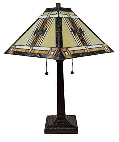 Amora Lighting Tiffany Style Table Lamp Banker Mission 23 Tall Stained Glass White Tan Brown Yellow Antique Vintage Tribal Light Decor Bedside Living Room Bedroom Handmade Gift AM099TL14B Nightstand