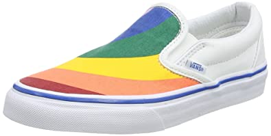 Vans Classic Slip On Womens 10.5 Mens 9 Rainbow True White Fashion Sneaker da3606bda836