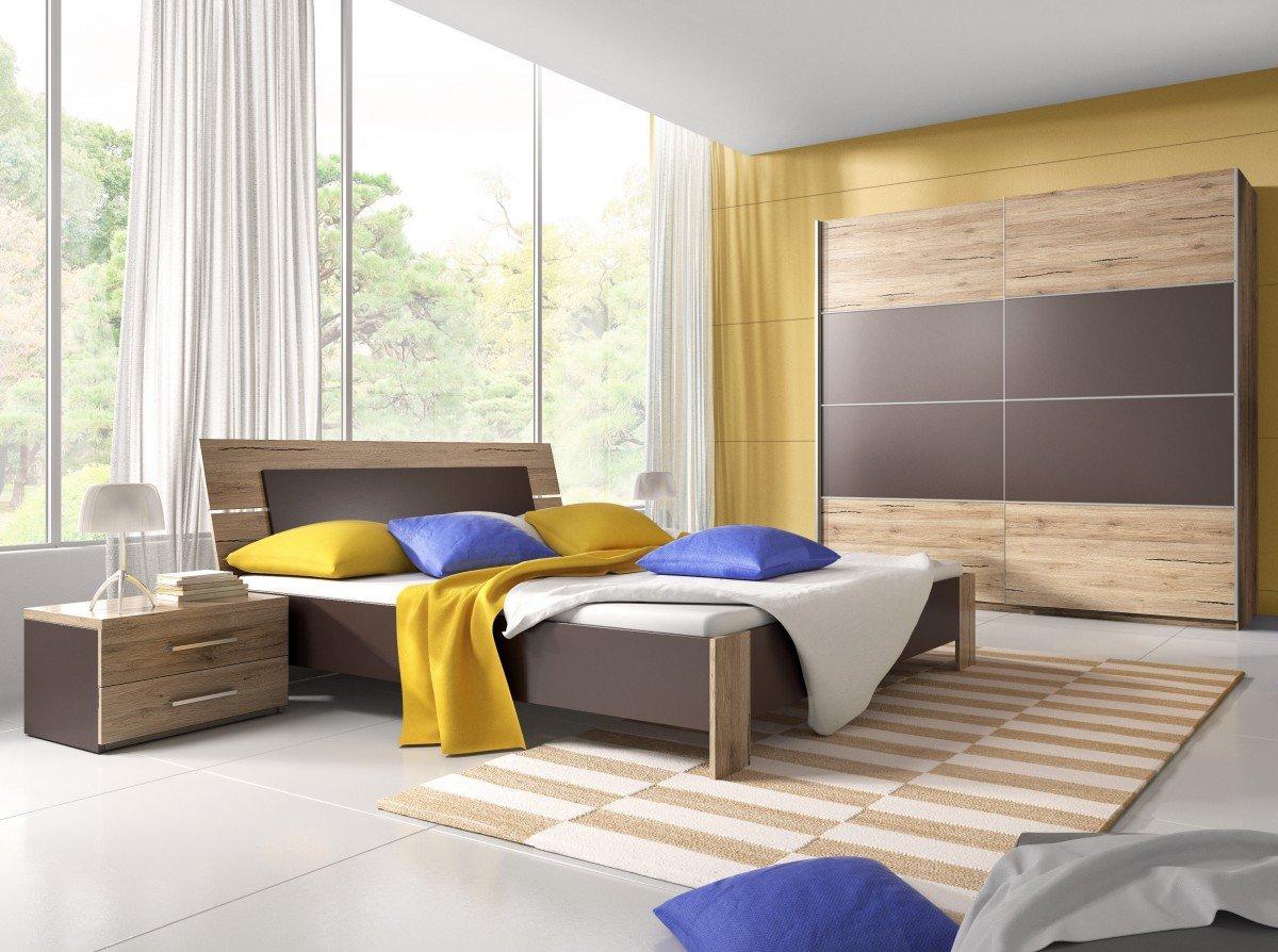 Dreams4Home Schlafzimmerset 'Basilio' - Schwebetürenschrank, 2x NaKo´s, Bett , 1 Kleiderstange, 5 Einlegeböden, ohne Matratzen, ohne Lattenrost, Schlafzimmer komplett, in San Remo Eiche hell / lava