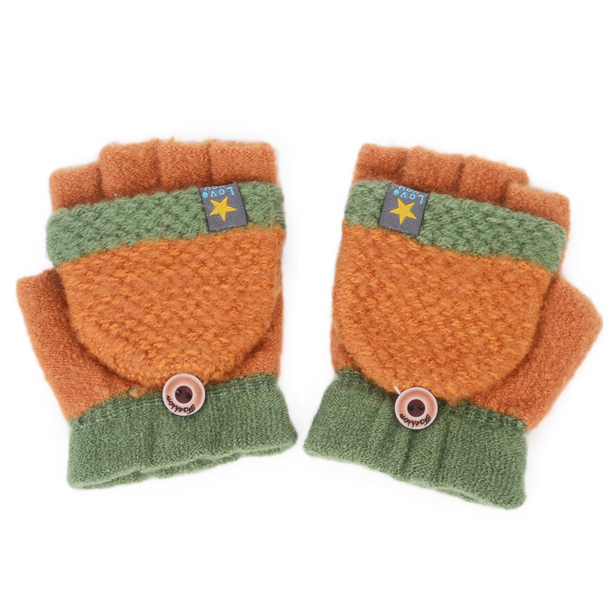 Flammi Unisex Kids Knitted Convertible Flip Top Gloves Mittens F Flammi M-B1999