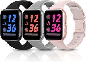 Sport Silicone Band Compatible with Apple Watch Bands 38mm 40mm 42mm 44mm,Soft Replacement Wristbands for iWatch Series 1/2/3/4/5/6/SE,Women Men,3 Pack(Black/Pink Sand/Grey,42mm/44mm-S/M)