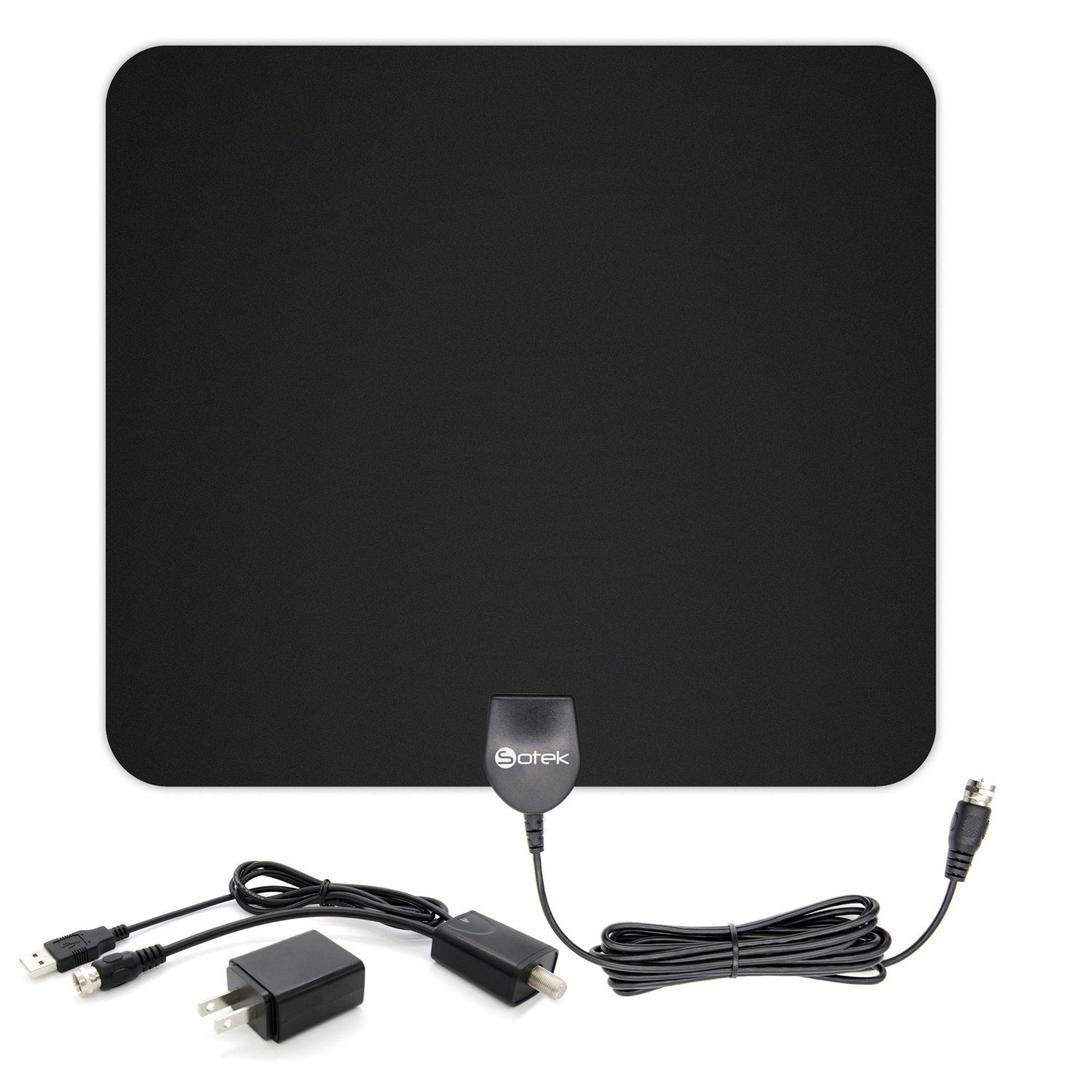 Indoor HDTV Antenna - Sotek TV Antenna 50 Miles Range with Detachable Amplifier Booster USB Power