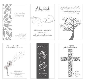 Set 6 Einfühlsame Premium Trauerkarten Mit Silber Prägung