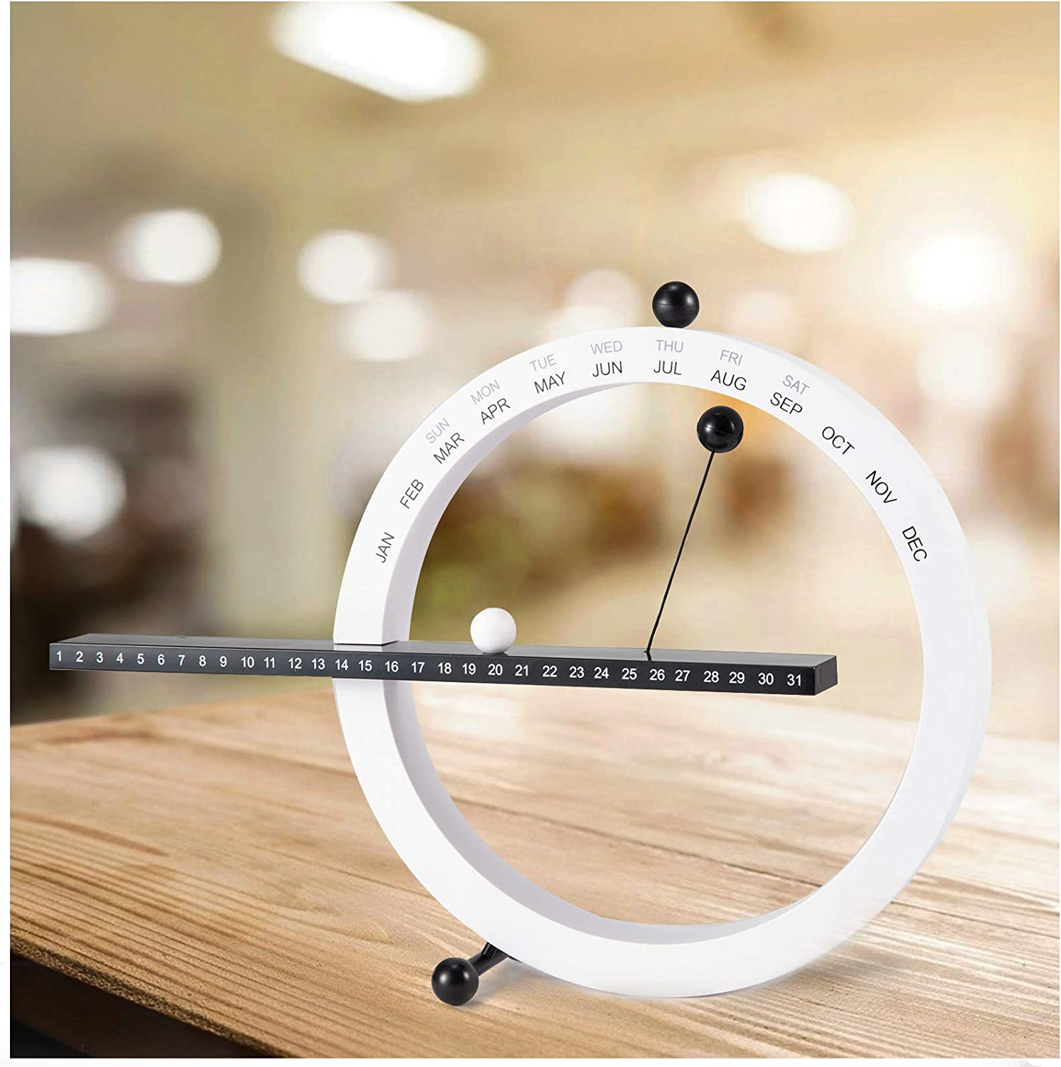 Creative Magnetic Ball Perpetual Calendar- Magnetic Ball Wall Clock Magnetic Desktop Perpetual Calender for Novelty Office Home Bedroom Decor (White and Black)