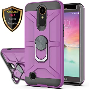 LG K20 Plus Case LG K20 V/LG Harmony/LG Grace LTE/K10 2017 Case with HD Screen Protector YmhxcY 360 Degree Rotating Ring Kickstand Holder Dual Layers of Shockproof Phone Case for LG LV5-ZS Purple