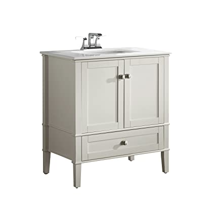 Simpli Home Chelsea 30u0026quot; Bath Vanity With White Quartz Marble Top, Soft  White