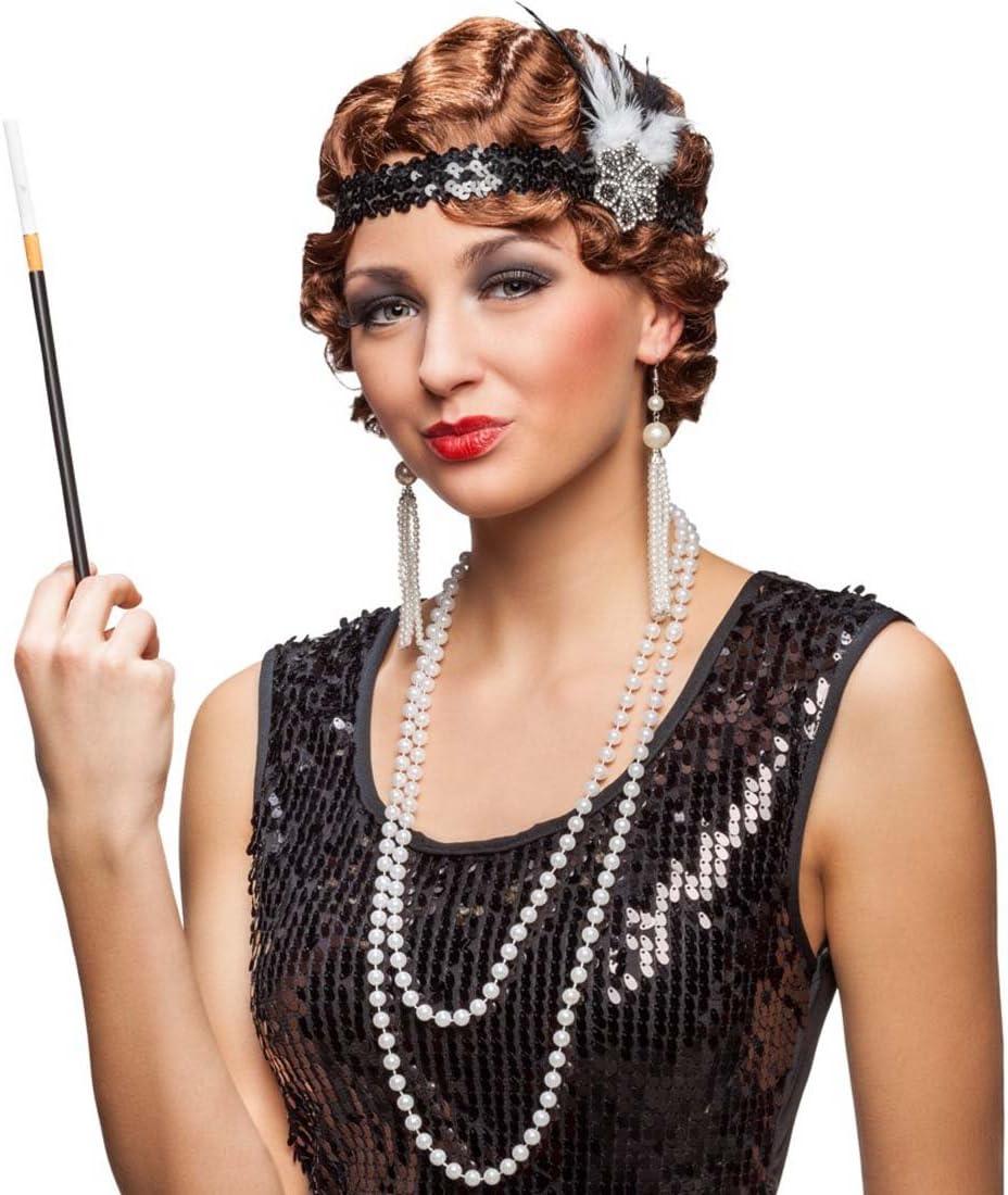 20er Jahre Kost/üm Set Charleston Mode Zubeh/ör Stirnband Ohrringe Kette Zigarettenspitze Flapper Accessoires Diva Kost/ümzubeh/ör Gatsby Femme Fatale Faschingszubeh/ör Goldene Zwanziger Mottoparty