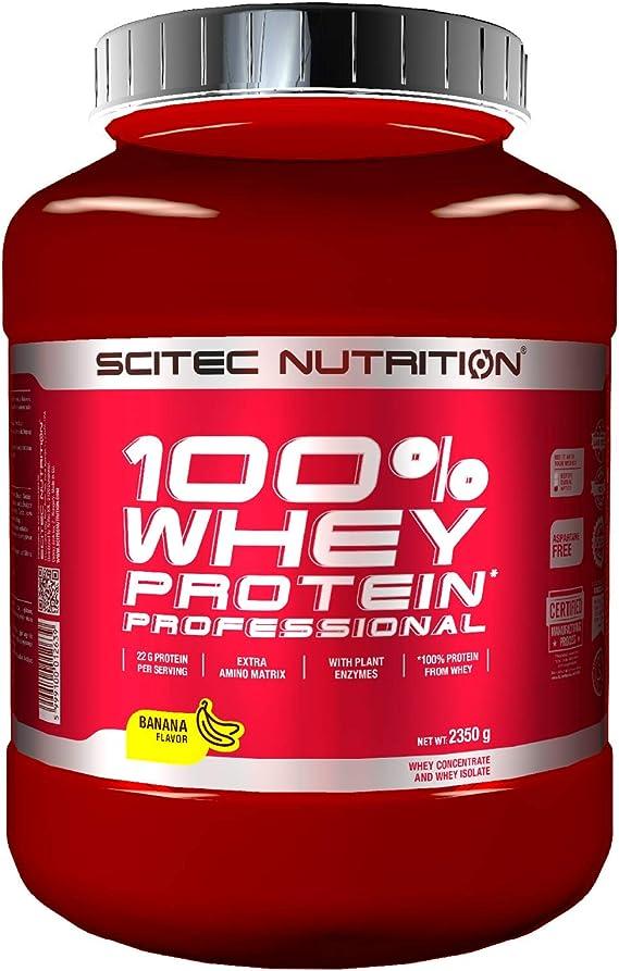 Scitec Nutrition 100% Whey Protein Professional con aminoácidos clave y enzimas digestivas adicionales, 2.35 kg, Plátano