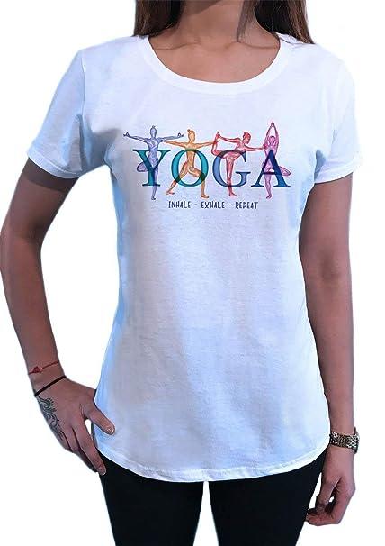 Camiseta para Mujer Posturas de Yoga Inhale, Exhale, repita ...