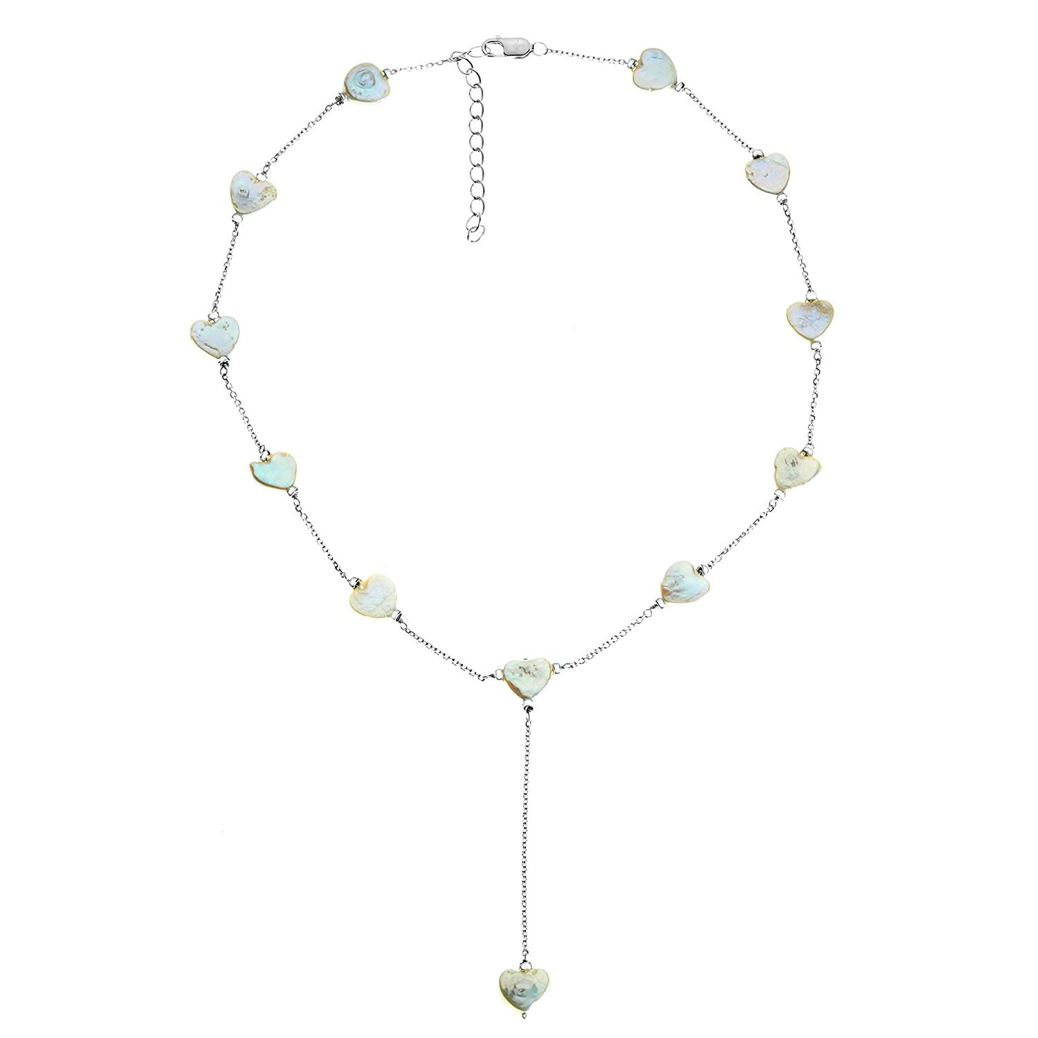 Metro Jewelry Sterling Silver and Shell Coin Pearl Necklace