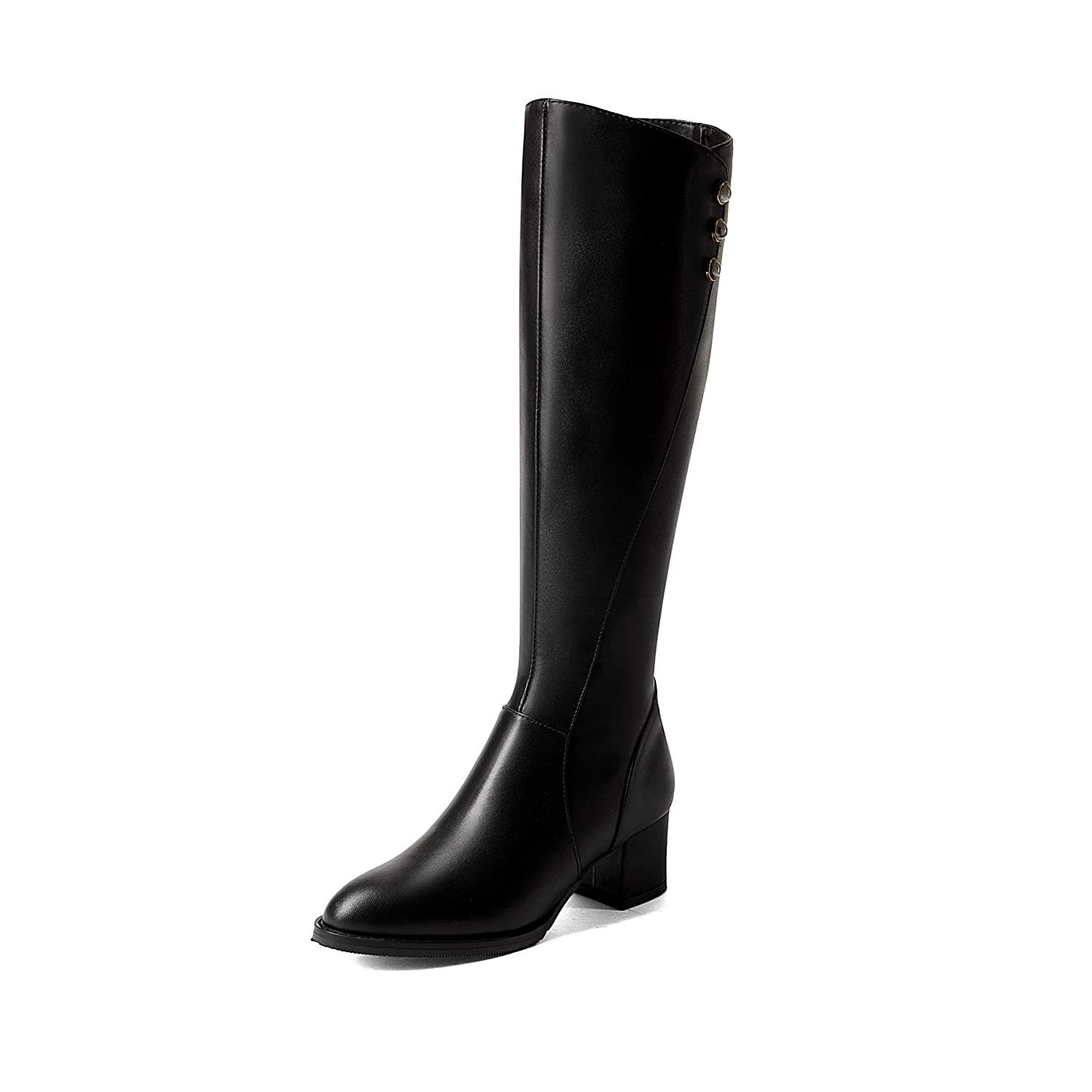 Black MAYPIE Womens Toanyon Leather Zipper Knee-High Boots