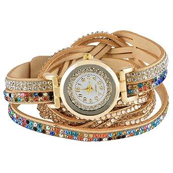 cbfa76b873769b MJARTORIA Damen Boho Strass Armbanduhr Elegant Klein Mode Damenuhr Analog  Quarz Uhr Braun