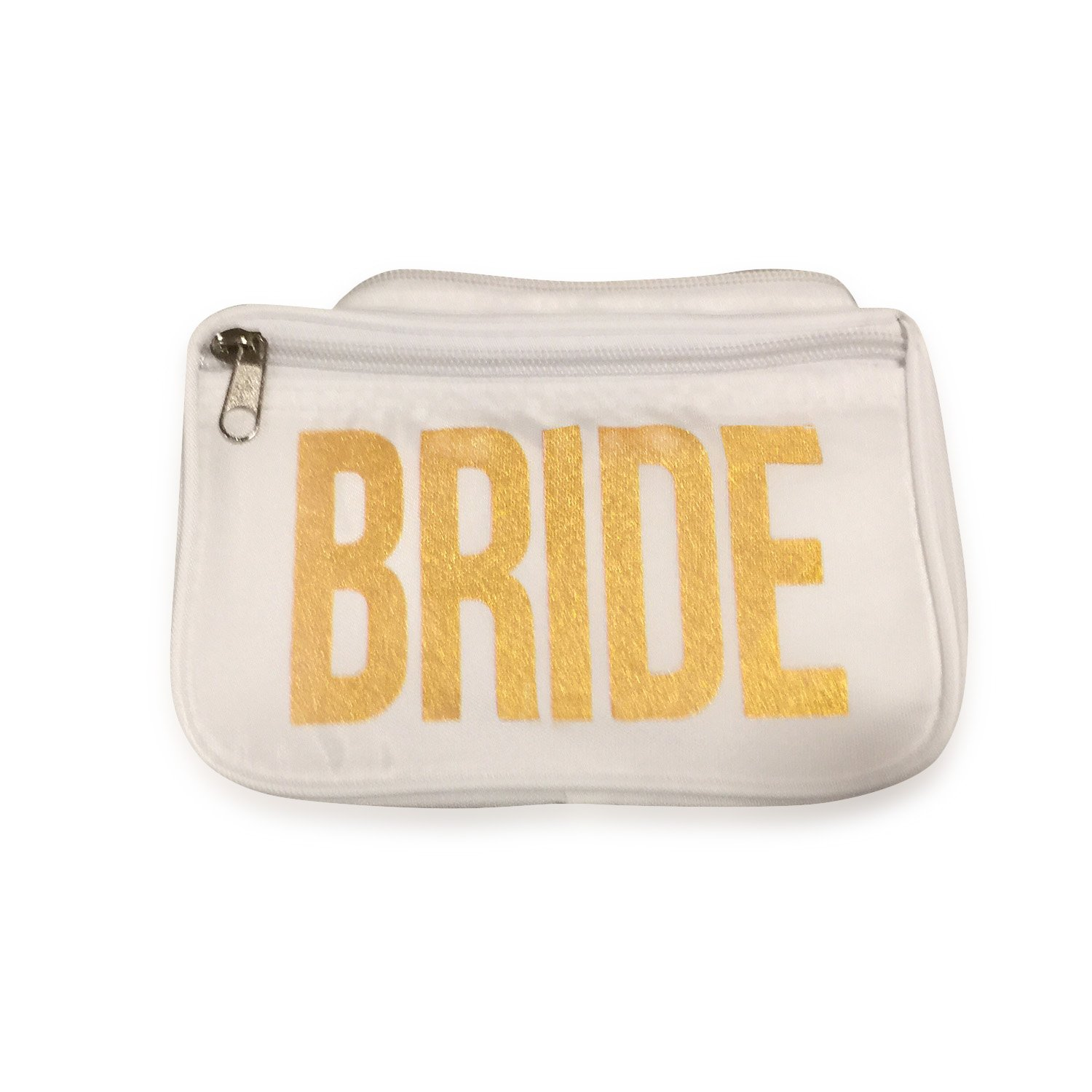 Who's Your Fanny Bride Fanny Pack White Perfect For Weddings Bachelorette Party Parties And More - Adjustable Belt and Strap, Waterproof, Gold print