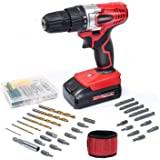 WORKSITE 18V Cordless Electric Drill ScrewDriver with 1300mA Lithium-Ion Battery, 29 Pcs Bits Set, 16 Position Keyless Clutch