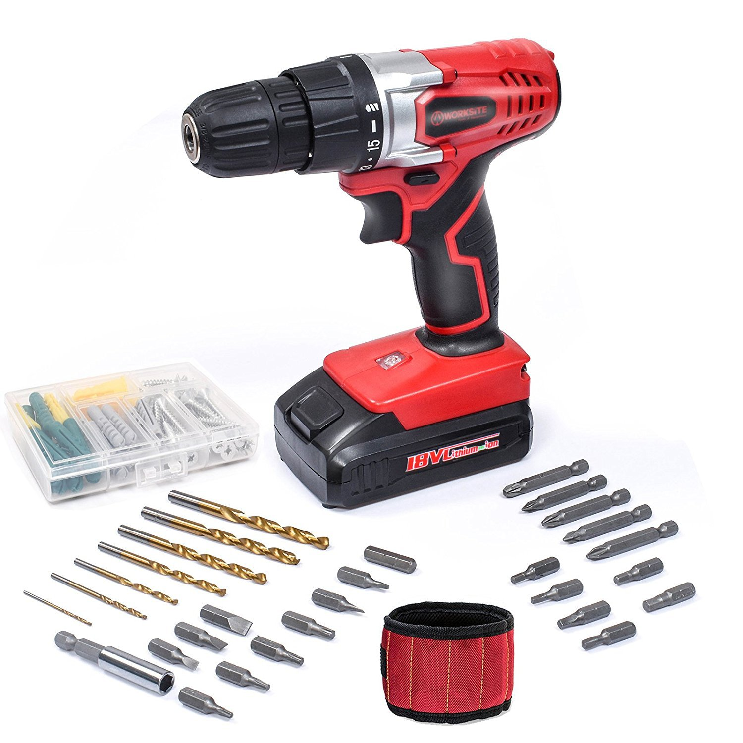 Cordless Electric Drill ScrewDriver WORKSITE CD316-20L 20V 1300mA Lithium-Ion Battery Powerful Electric Drill Driver Built-in Light with 29 Pcs Accessories Bits Set and Magnet Wristband