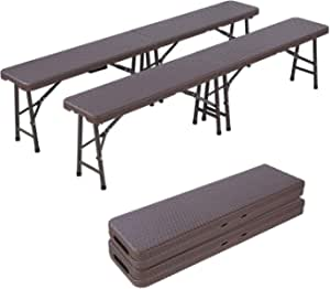 Portable Folding Bench, 2 Pack, 6 ft Plastic Folding Bench with Handle, Rattan Look, Lightweight Camp Folding Bench Seat, for Picnic, Camping, Party, Outdoor, Indoor, Office, Commercial