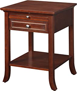 Convenience Concepts American Heritage Collection Logan End Table with Drawer and Slide, Mahogany
