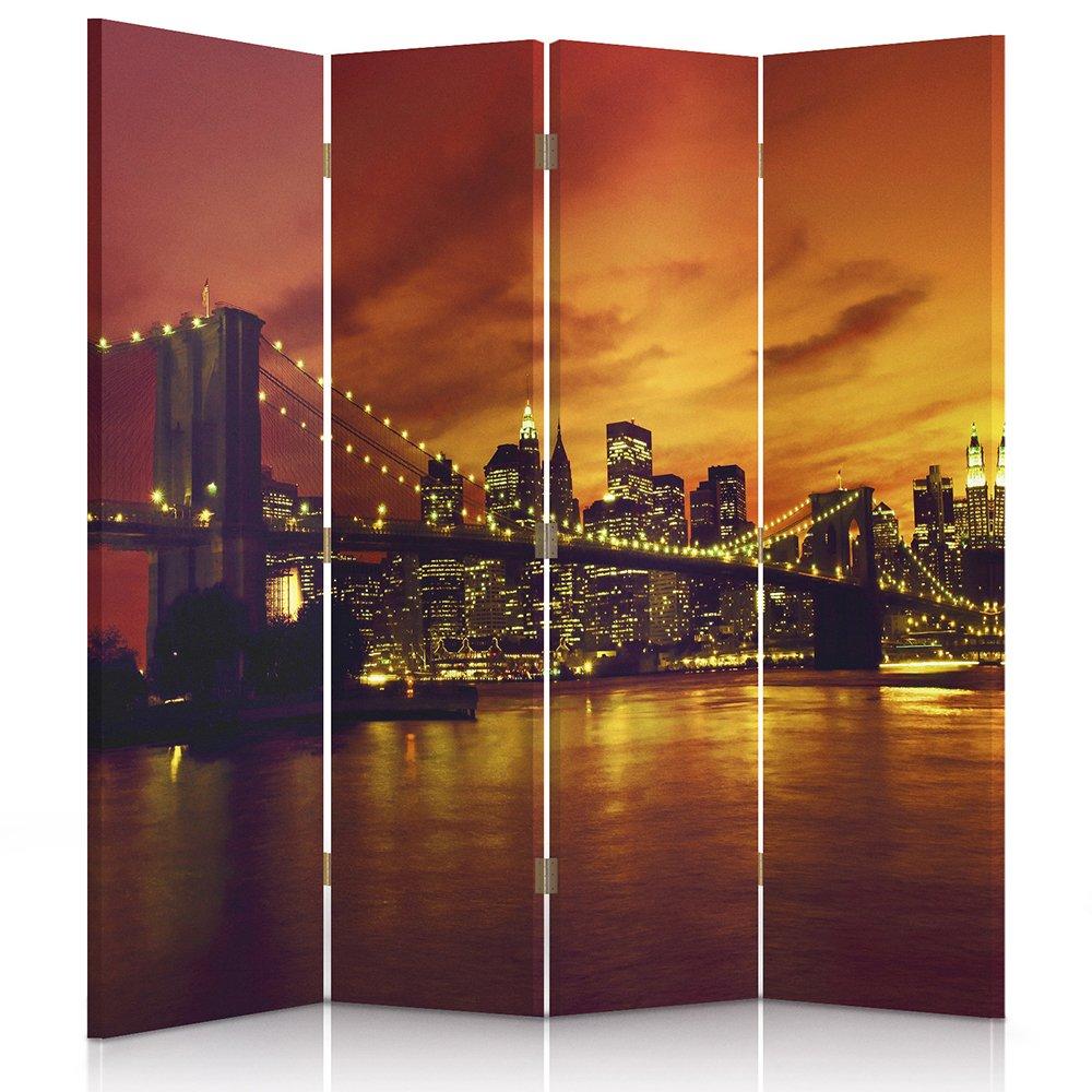 Feeby Frames Il paravento Stampato su Telo,Il divisorio Decorativo per Locali, bilaterale, a 3 Parti (110x150 cm), Brooklyn Bridge, Manhattan Tramonto, Arancione, Oro