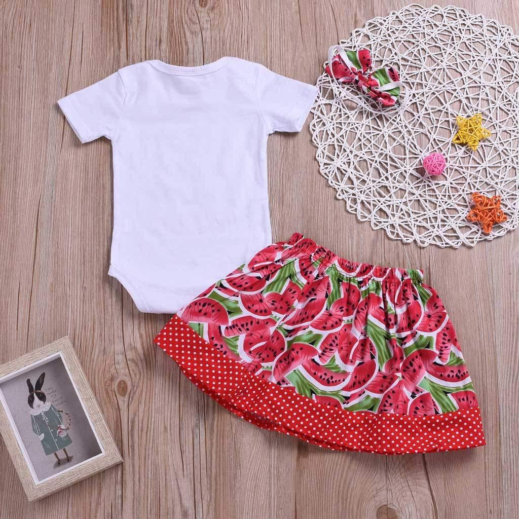 Gonxifacai Toddler Infant Baby Girls Short Sleeve Summer Watermelon Print Romper+Skirt Outfits Set