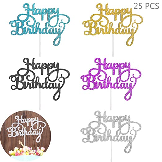Juland 25 Piezas Feliz cumpleaños, Torta, Topper Papel ...