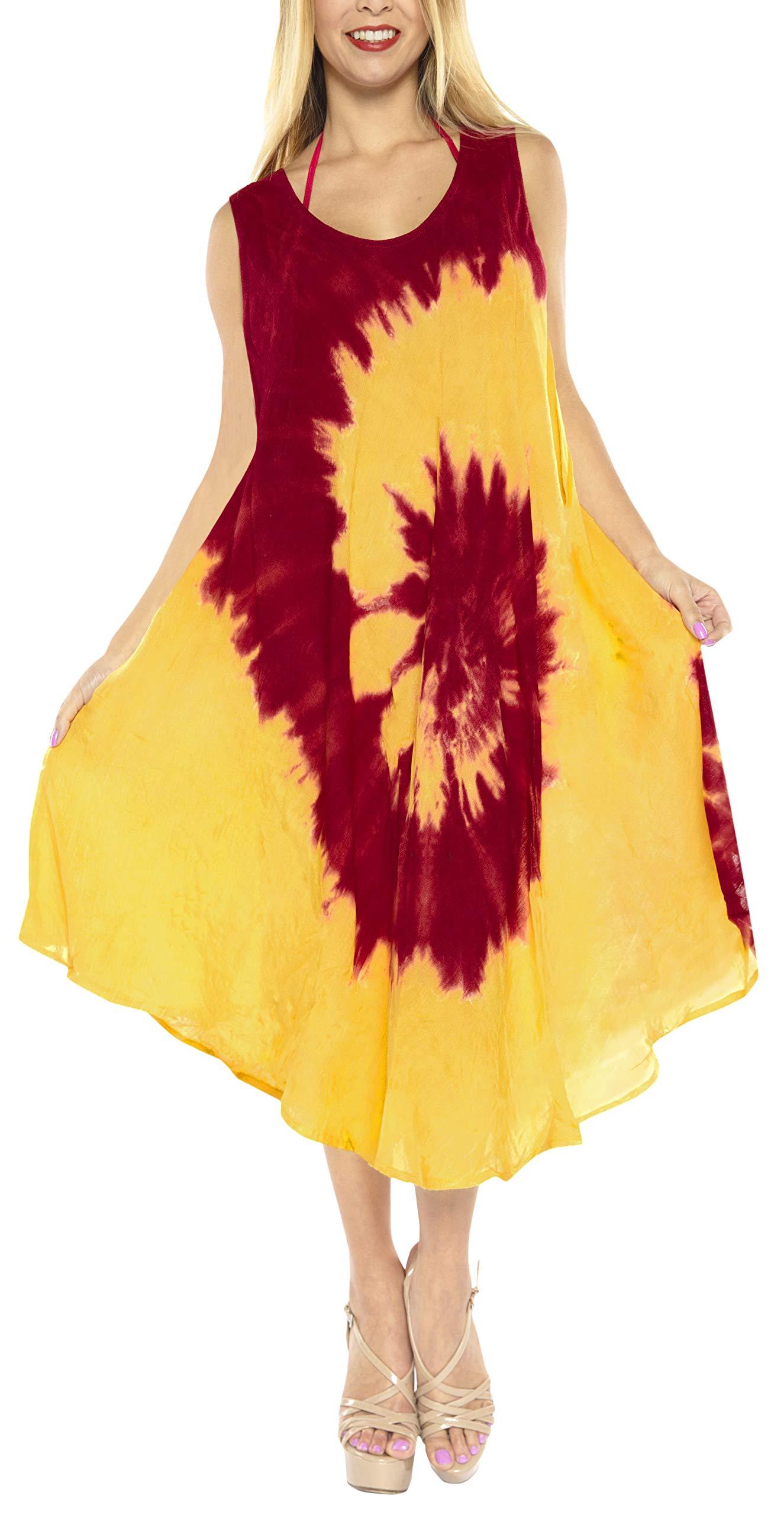LA LEELA Rayon Tie Dye Swimwear Cover Up Top Caribbean Long  Red 585 Plus Size