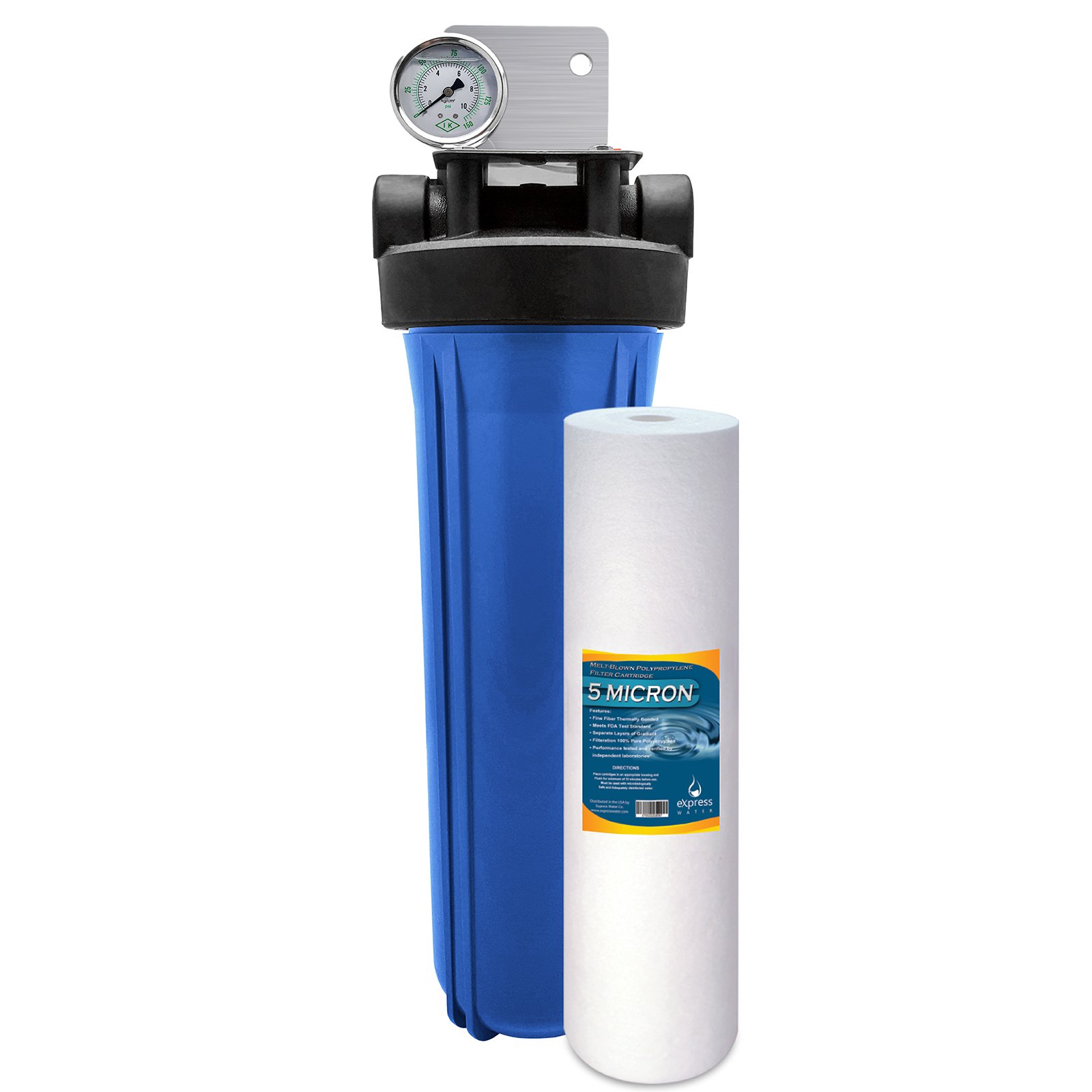 "Express Water Whole House Water Filter – Home Water Filtration System – Sediment Filter – includes Pressure Gauge, Easy Release, and 1"" Inch Connections"
