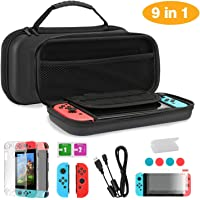 TKOOFN Case & Accessories 9 in 1 Kit for Nintendo Switch Black