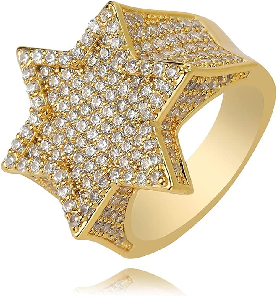 TOPGRILLZ 14K Gold Silver Plated Iced Out Punk Band Hexagram Star Ring for Men and Women Novelty Jewelry