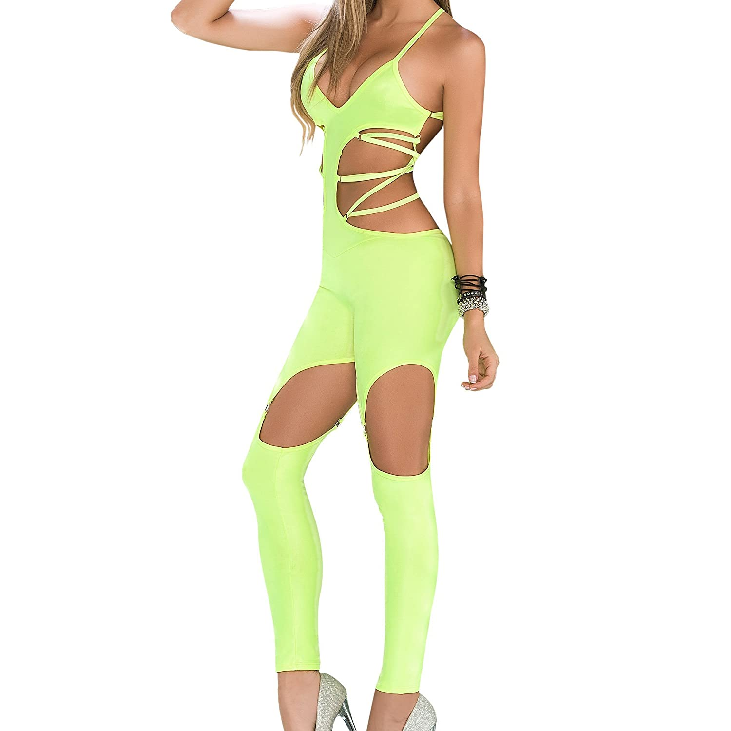 quite nice buy good low cost Mapale Strappy Neon Jumpsuit, Neon Cut-Out Jumpsuit at ...