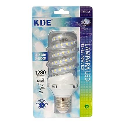 KDE Bombilla LED Espiral Blanca E27 16W 1280 LM