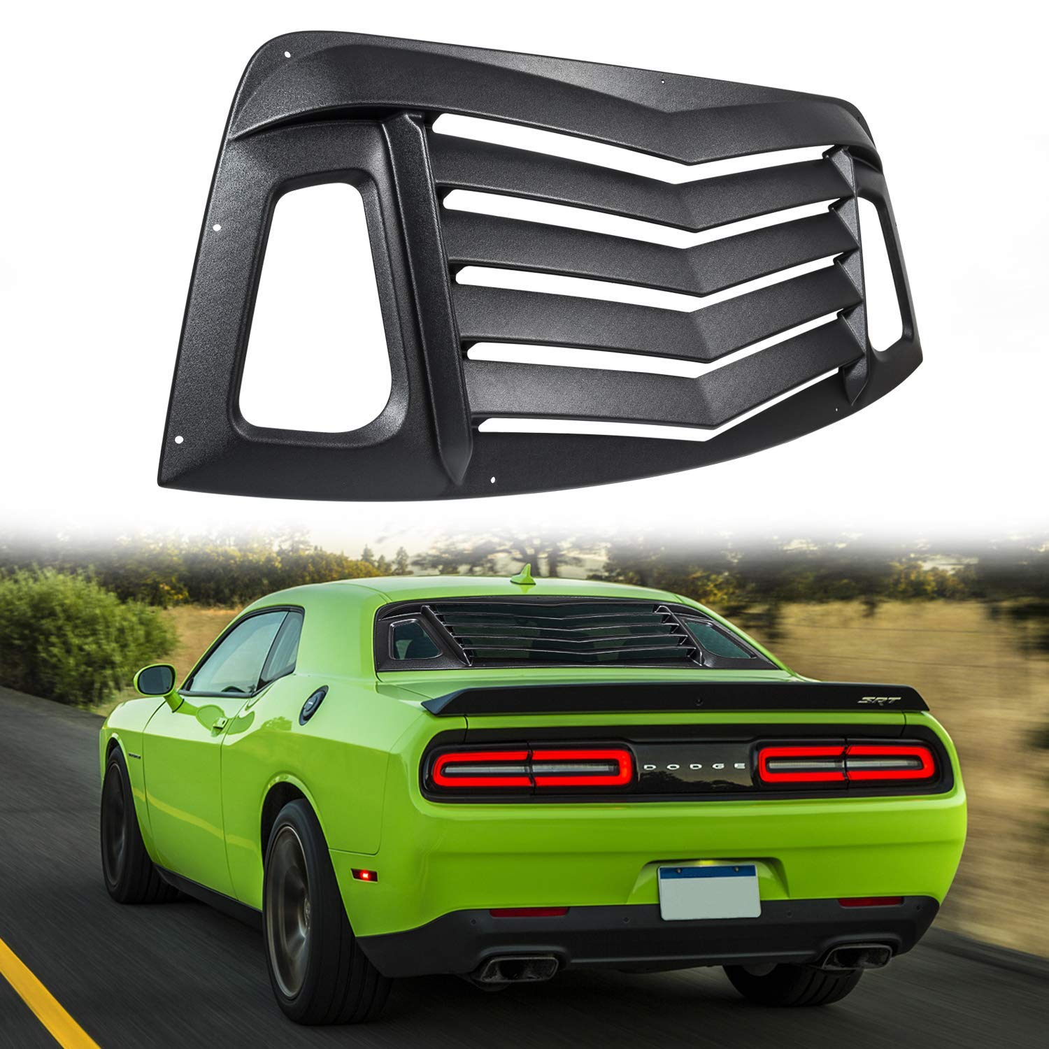 Matte Black Rear Window Louvers Sun Shade Cover for 2008-2019 Dodge Challenger