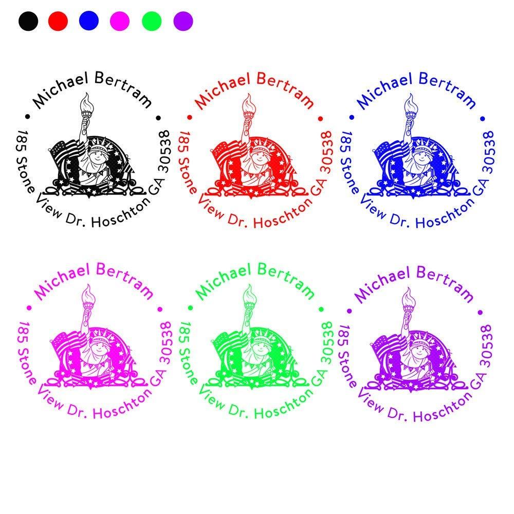 Personalised Self Inking Return Address Stamp-Custom Lady Liberty and American Flag Design Rubber Stamp-Handmade DIY Housewarming Gift-Round Diameter 1.65inch 1pc Signet Seal