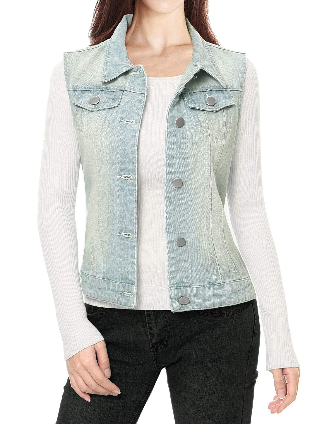 Allegra K Women's Buttoned Washed Denim Vest Waistcoat w Chest Flap Pockets s18040800it0246