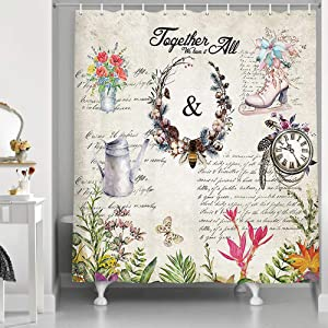 Modern Farm Vintage Farmhouse Honeybee Shower Curtain, Rustic Nature Country Garden Floral Wild Flower with Butterflies Bee, Fabric Bathroom Fantastic Decor Funny Animals Bath Curtains,69X70in