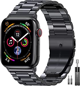 EPULY Compatible with Apple Watch Band 42mm 44mm 38mm 40mm ,Business Stainless Steel Metal Wristband for iWatch SE & Series 6/5/4/3/2/1 (Space Grey, 42mm/44mm)