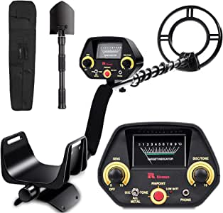 RM RICOMAX Metal Detector for Adults & Kids - High-Accuracy, View Meter, Four Detection Modes [DISC/Tone/Full Metal/Pinpointer Mode], 10 Levels of Sensitivity Adjustment, 10-inches Search Coil