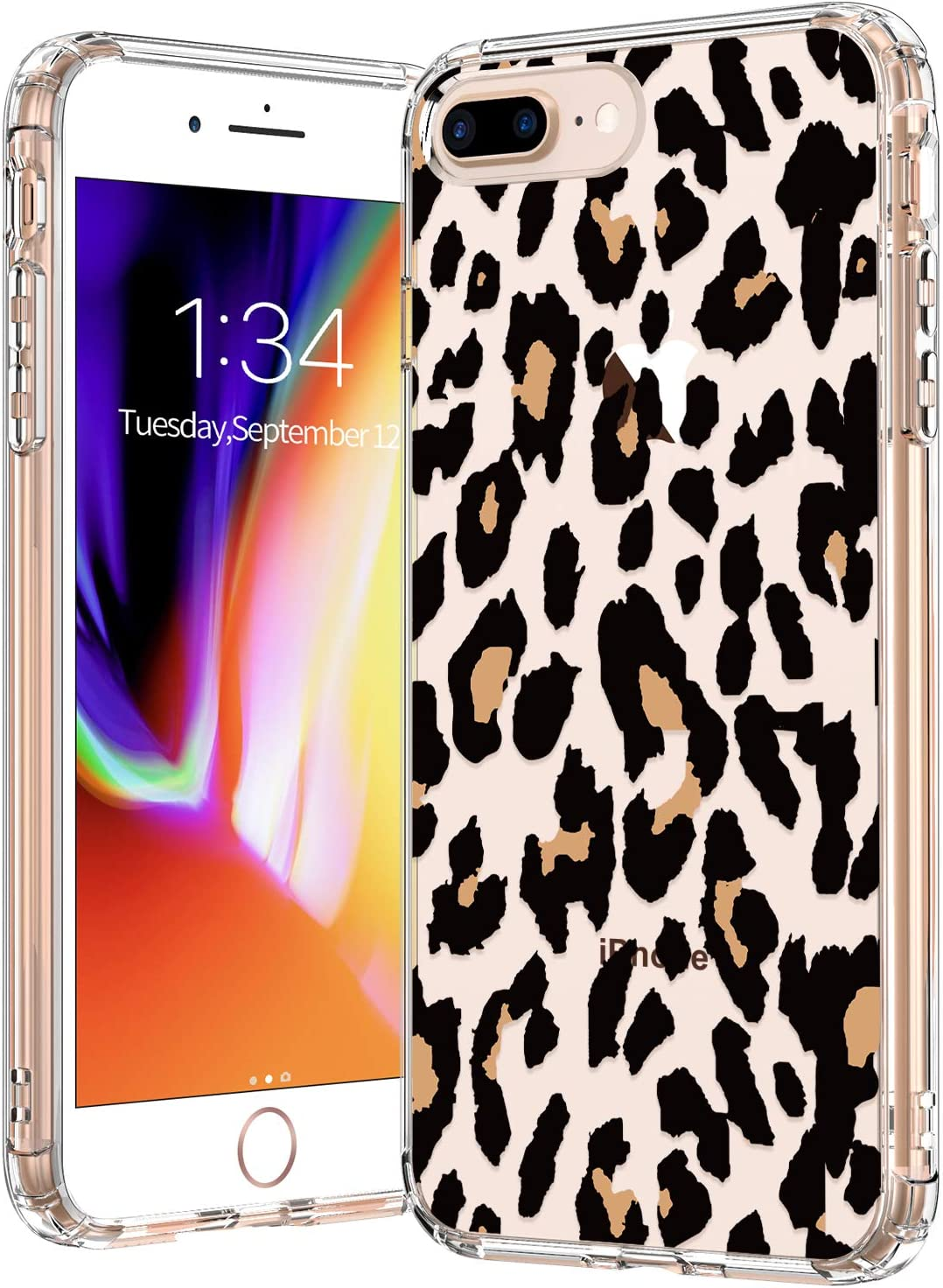 BICOL iPhone 8 Plus Case,iPhone 7 Plus Case Clear with Design for Girls Women,12ft Drop Tested,Slip Resistant Slim Fit Protective Phone Case for Apple iPhone 8 Plus/7 Plus Leopard Patterns