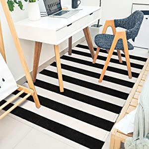 "Seavish Indoor Outdoor Doormats, 35.4"" x 59"" Black and White Ivory Stripes Rug Handmade Woven Floor Rug, Machine Washable Carpet Cotton Area Rug for Farmhouse/Porch/Living Room/Entry Way/Laundry"